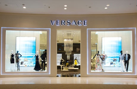 Versace store with blue lighting