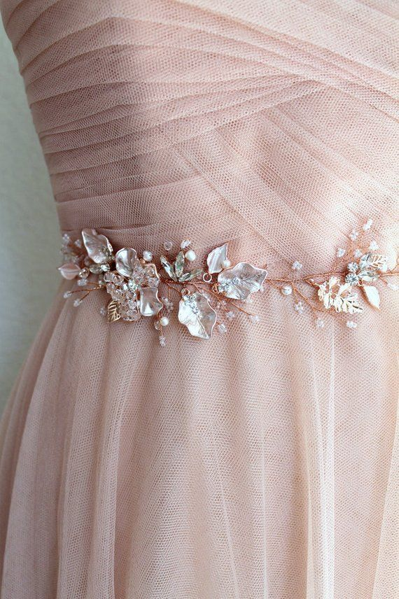 d51bb882e7df Rose gold Leaf Vine Bridal Sash. Blush Boho Delicate Crystal Wedding Dress  Belt. Rhinestone