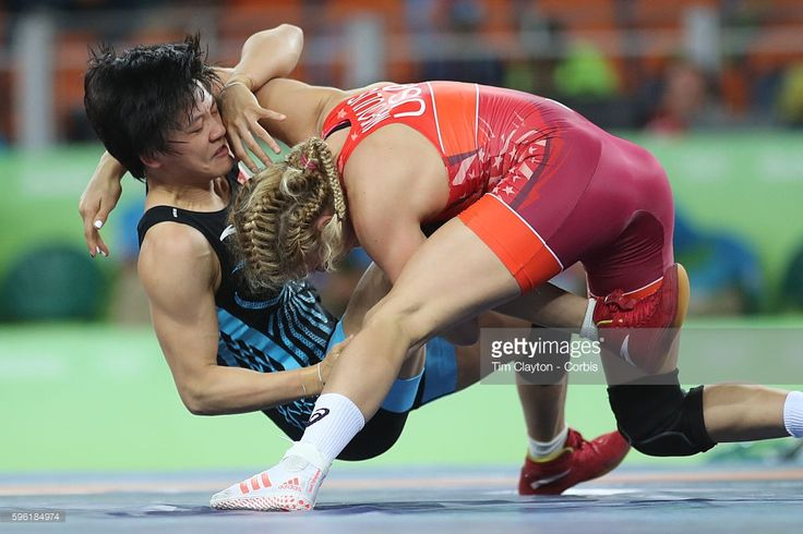 Day 13 Helen Louise Maroulis of the United States defeating Xuechun Zhong of China in the Women's Freestyle 53 kg 1/8 Finals Wrestling match at the Carioca Arena 2 on August 18, 2016 in Rio de Janeiro, Brazil.  (1024×683)