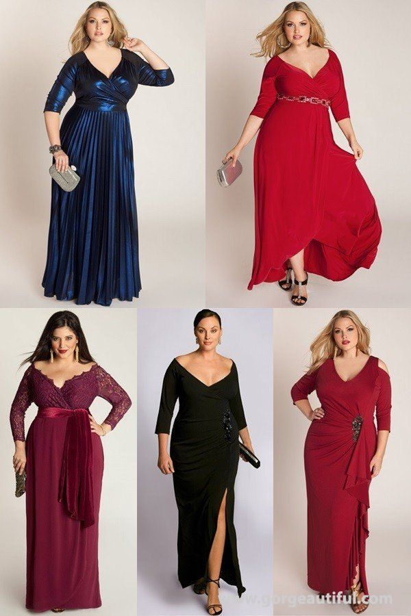 evening plus size wedding guest gowns