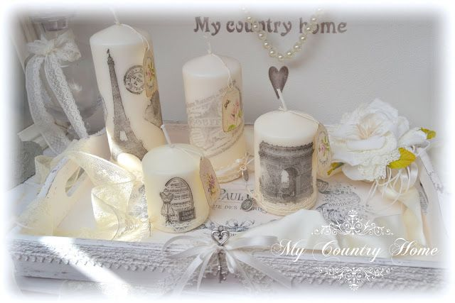 Vassoio e candele vintage shabby