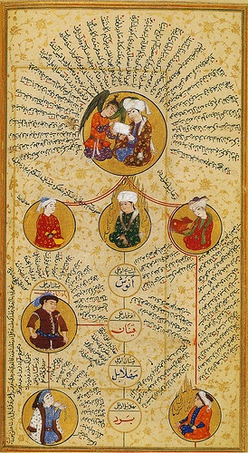16th C. This silselename is one of the earliest known, a genre which traces lineage, this page is the pre-Islamic Ottoman Lineage going back to Adam. Authored in Baghdad as opposed to the Imperial center, under the reign of Mehmed III (1595-1603).