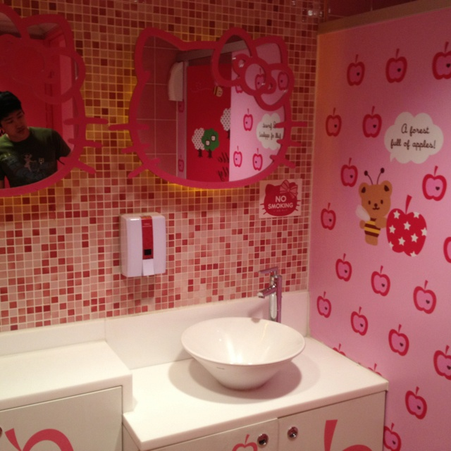 Hello Kitty bathroom...notice there's a man in there to funny