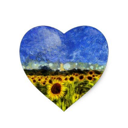 Van Gogh Sunflowers Heart Sticker - sunflowers sunflower gifts floral flowers cyo gift idea unique