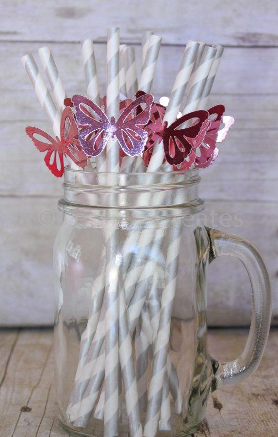 Papieren rietjes  roze vlinder papieren rietjes door JessicaJCreates