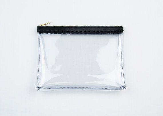 KATE chiara frizione. Sacchetto di trucco di libero. Sacchetto di vinile trasparente. Caso il trucco chiaro. Borsa in pelle trucco