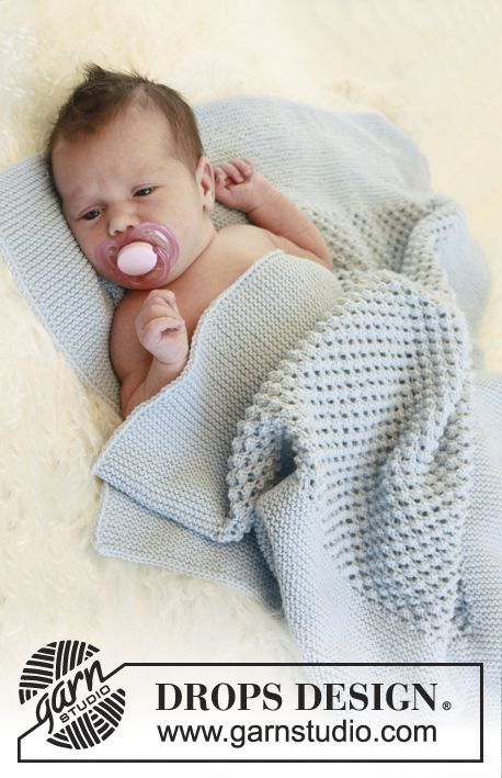 "Bundle of Joy - Knitted DROPS blanket with blackberry pattern in ""Alpaca"". - Free pattern by DROPS Design"