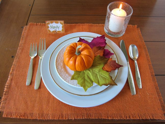 No Sew Rustic Placemats For Your Thanksgiving Table  or use same technique for table runner