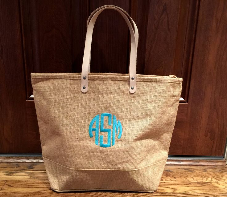 Personalized JUMBO Natural Burlap tote - Monogram Jute Tote - Summer Handbag Vacation Bags - bridesmaid jute tote - cruise jute tote by MJMonograms on Etsy