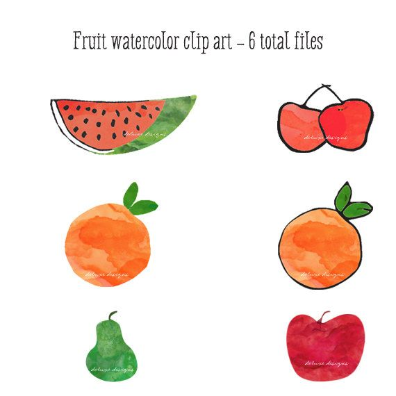 Fruit  Watercolor clip art Instant Download on Etsy