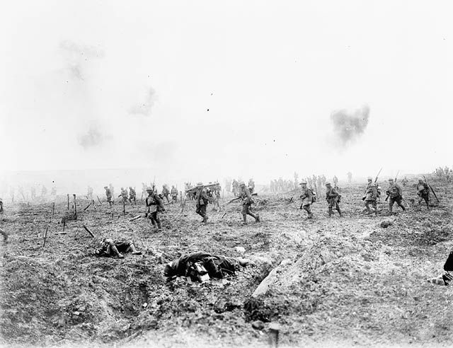 April 1917: Canadian soldiers advance through the barbed wire and heavy enemy fire in No Man's Land at Vimy Ridge - Found via The Passion of Former Days
