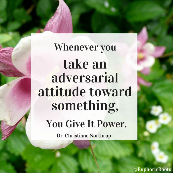 """Whenever you take an adversarial attitude toward something, you give it power."" ~ Dr. Christiane Northrup Fear + New Life Lessons"