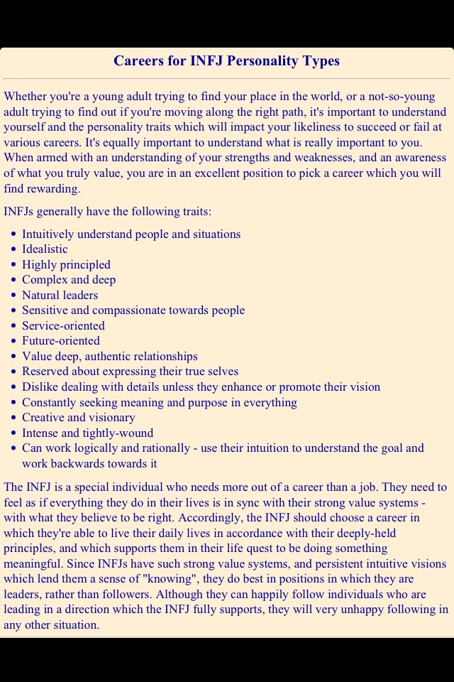My personality type (INFJ) fits me perfectly and my chosen career as a Therapist is exactly what I need to live with a purpose :)