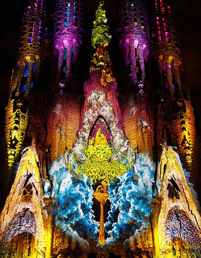 Barcelona, Spain: The Sagrada Família is illuminated during the Ode à la Vie light show