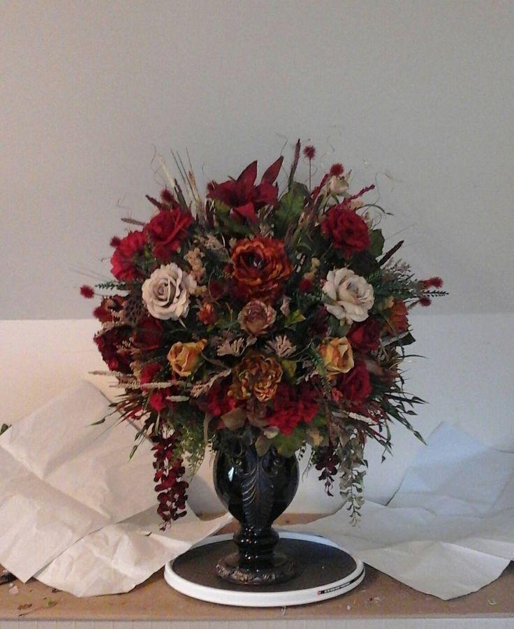 Silk Flower Centerpiece For Dining Room Table In 2021 Silk Flower Centerpieces Home Floral Arrangements Floral Arrangements