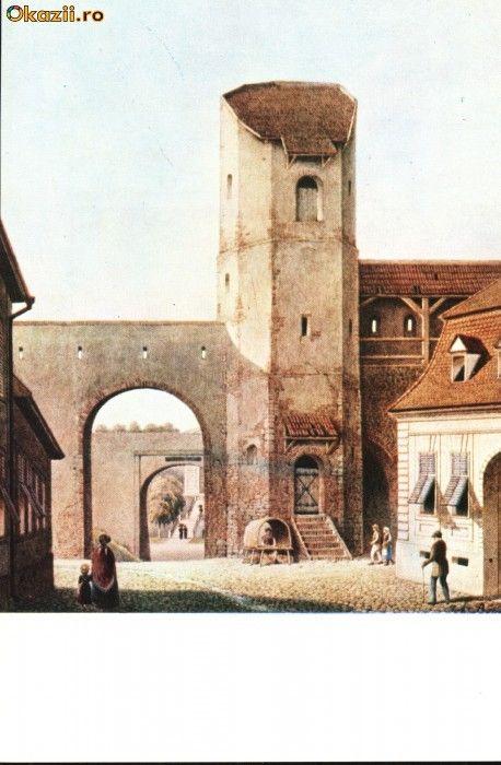 Carte postala ilustrata Poarta Lesurilor - Sibiu, dinspre oras foto mare