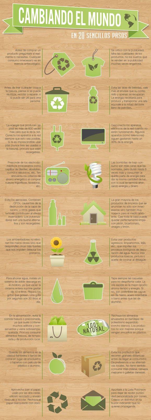 20 sencillos pasos para cambiar el mundo #infografia #infographic #medioambiente