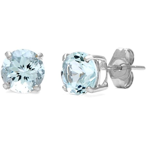 Kabella 14k White Gold Round Aquamarine Earrings ($89) ❤ liked on Polyvore featuring jewelry, earrings, aqua, blue, white gold stud earrings, stud earrings, 14 karat white gold earrings, round earrings and aqua earrings