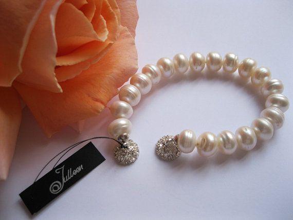 Huge White 11mm Pearl Bracelet Sterling