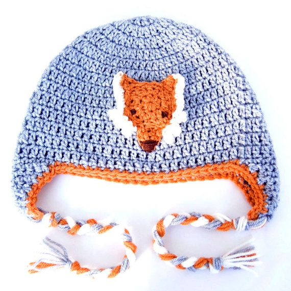 Toddler or Baby Crochet Fox Hat in Grey and Orange
