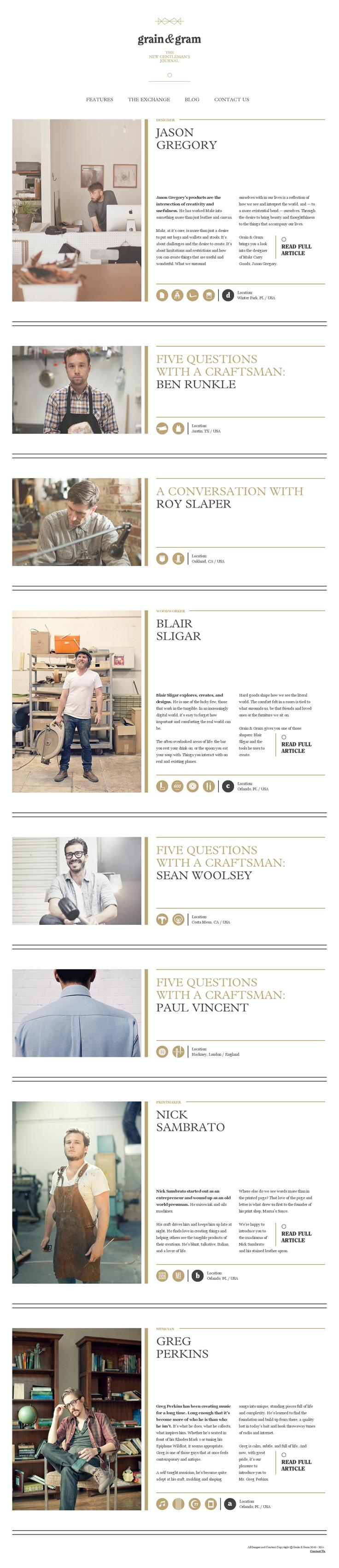 Stylish gentleman's site: Webdesign, Website Http Grainandgram Com, Favorite Website, Favourit Website, Website Design