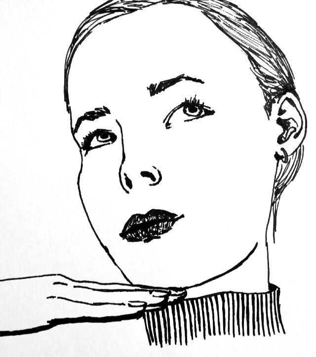 Drawing quick portrait of my friend Mathilde