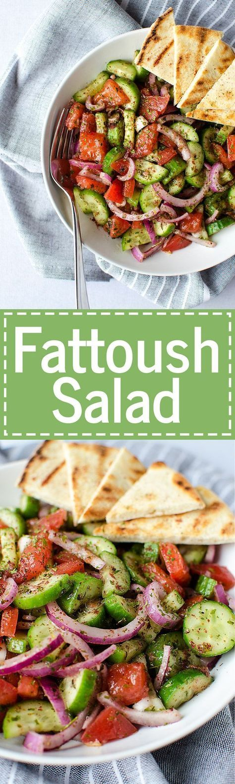 Fattoush Salad - A simple and easy Middle Eastern salad that comes together in just minutes. It's piled high with fresh veggies and leaves you feeling healthy and satisfied. (Vegan & GF)   RECIPE at http://NomingthruLife.com