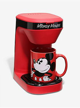 "Make mornings magical! This single serve coffee maker sure will seems like it runs on magic, with the ease it'll get you going! It's got an easy on/off switch, a super cute red Mickey Mouse design and a complimentary 12 oz. Mickey Mouse mug! It's a must-have for your home or office!<div><ul><li style=""list-style-position: inside !important; list-style-type: disc !important"">9"" x 4""</li><li style=""list-style-po..."