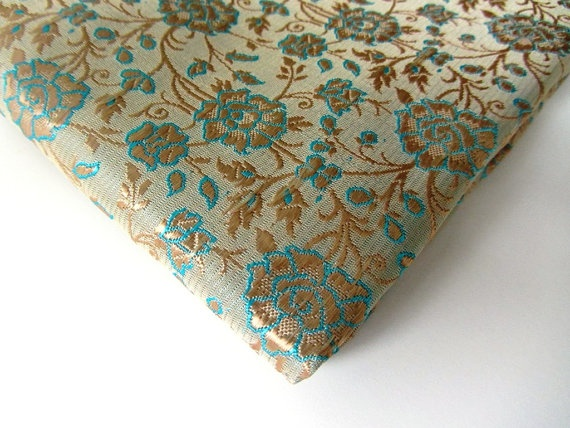 NEW!!!  Benares silk blue gold tan flowers India fat quarter by SilksByUmf, $18.50