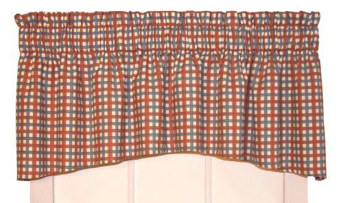 Charlestown Check Crescent Valance Curtain 68 Inch By 18 Inch Watermelon 3 Inch Rod Pocket By
