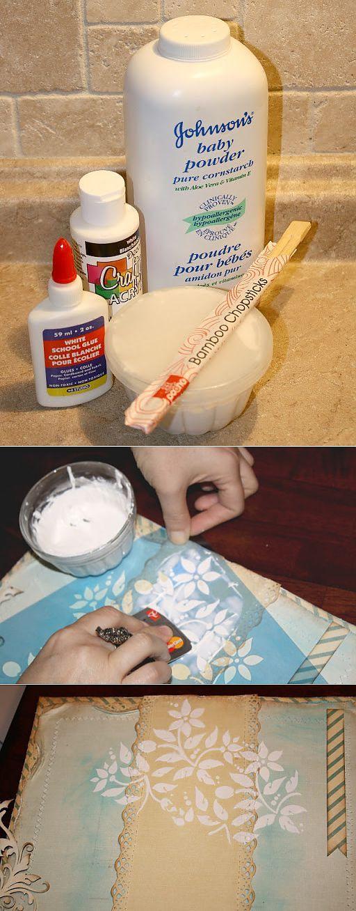 Вот такой совсем несложный рецепт: 1/4 чашки детского талька, 1 ст.л. клея ПВА, 1 ст. л. акриловой краски, немного воды - и все!!