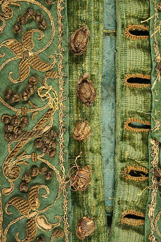 Date: ca. 15801580, Metals Thread, Silk, Green, Metropolitan Museum, Colors Palettes, Buttons, Brass, Embroidery