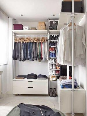 Open closet, get nice hangers and color coordinate and I think it could look really good!