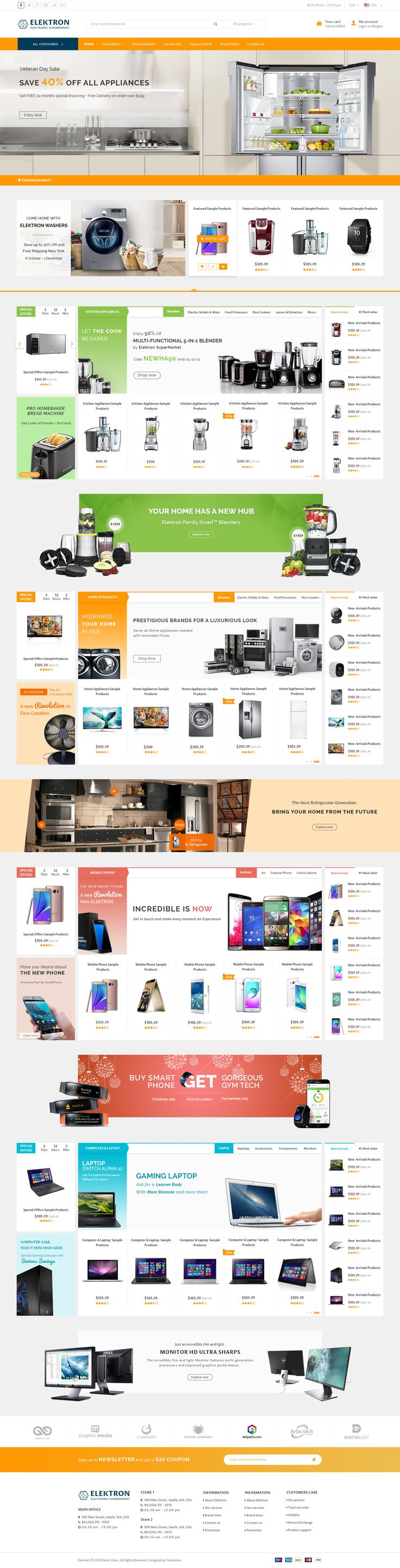 Are you gonna build an attractive online Electronics Store, Media Center, or Supermartket? Elektron – Multi-Purposes Electronics PSD Template is a perfect answer for these targets. With more than ...
