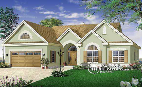 House plan w3246 airy florida style ranch while rendered for Florida ranch house plans
