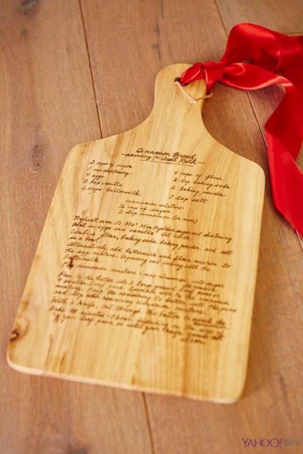 DIY Gifts for Your Parents | Cool and Easy Homemade Gift Ideas That Mom and Dad Will Love | Creative Christmas Gifts for Parents With Step by Step Instructions | Crafts and DIY Projects by DIY JOY  |  Wooden Chopping Board Etched with Secret Family Recipe  | http://diyjoy.com/diy-gifts-for-mom-dad-parents