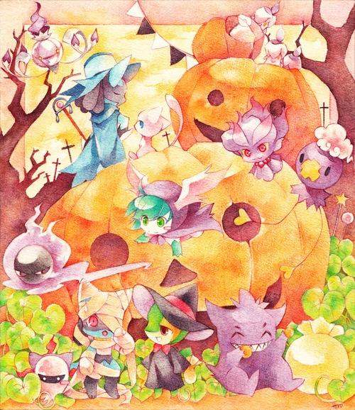 Pokémon Halloween. I found my new Halloween phone wallpaper! ^^