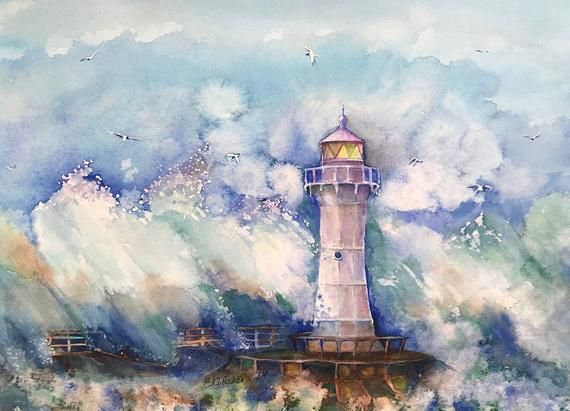 Lighthouse Painting Original Watercolor Seascape Abstractart