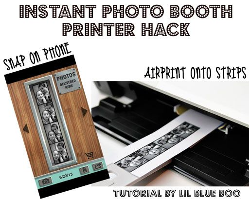 Instant Photo Booth Printer Hack via http://www.lilblueboo.com/2013/10/instant-photo-booth-printer-hack.html