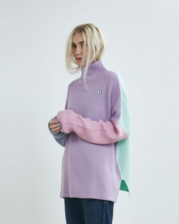 Lazy Oaf Pastel Panel Knitted Jumper