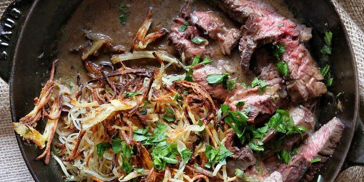 Whiskey-Glazed Steak with Shoestring Potatoes Recipe