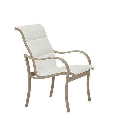 Tropitone Shoreline Patio Dining Chair (Set of 2) Finish: Parchment, Fabric: Sparkling Water