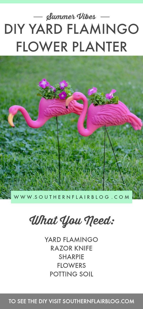 Easy DIY Flamingo Flower Planter -- so cute and fun for the yard this summer!
