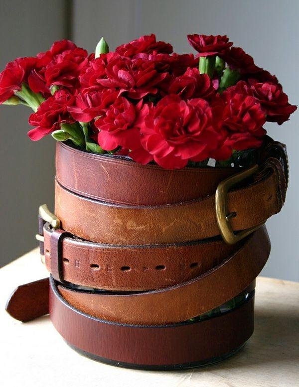 basteln Gürtel Nelken Blumengestecke Design Ideen