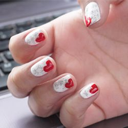 Easy twist to newsprint nails for V-Day: Heart Bookmark Nails + Dirty Newspaper Nails