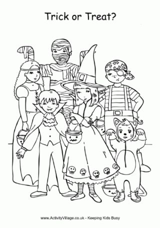 Trick or Treat Colouring Page