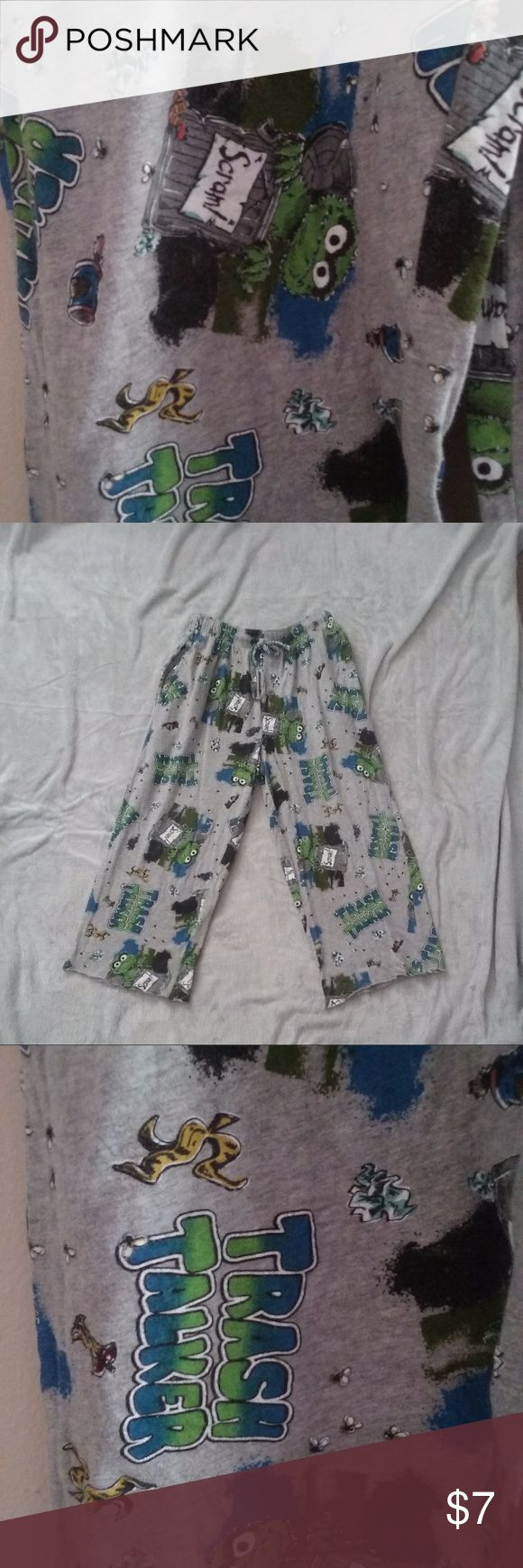 "Oscar Grouch Trash Talker PJ Pants Men Small 28-30 Cute Sesame Street Oscar the Grouch Trash Talker hand cropped sleep/PJ/lounge pants, they are a mens 28-30 small, but could be used by women, measures approximately 18.5"" inseam and 22"" elstic drawstring waist.  Shows normal wash wear. Sesame Street Pants"