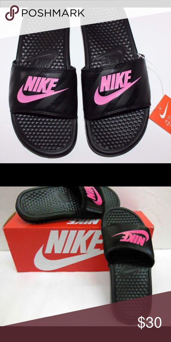 Nike slippers Size 5.5// new in box.. Black nike slippers with hot pink logo Nike Shoes Slippers