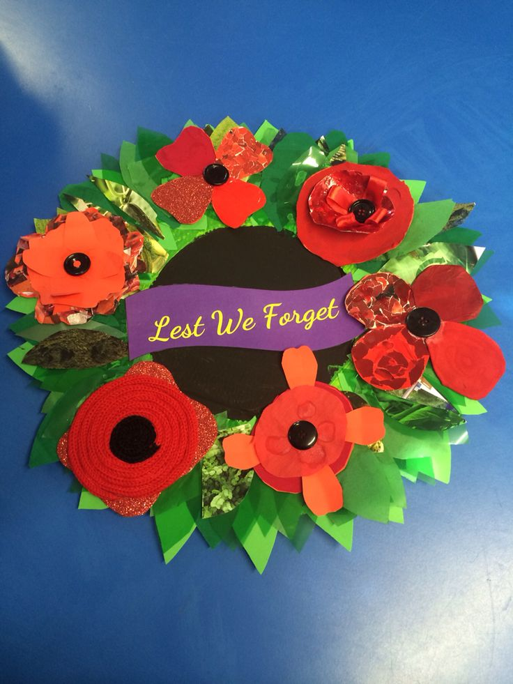 Wreath for ANZAC commemoration - children worked collaboratively to make the various poppies then all brought together in our final wreath for Field of Remembrance ceremony 2015