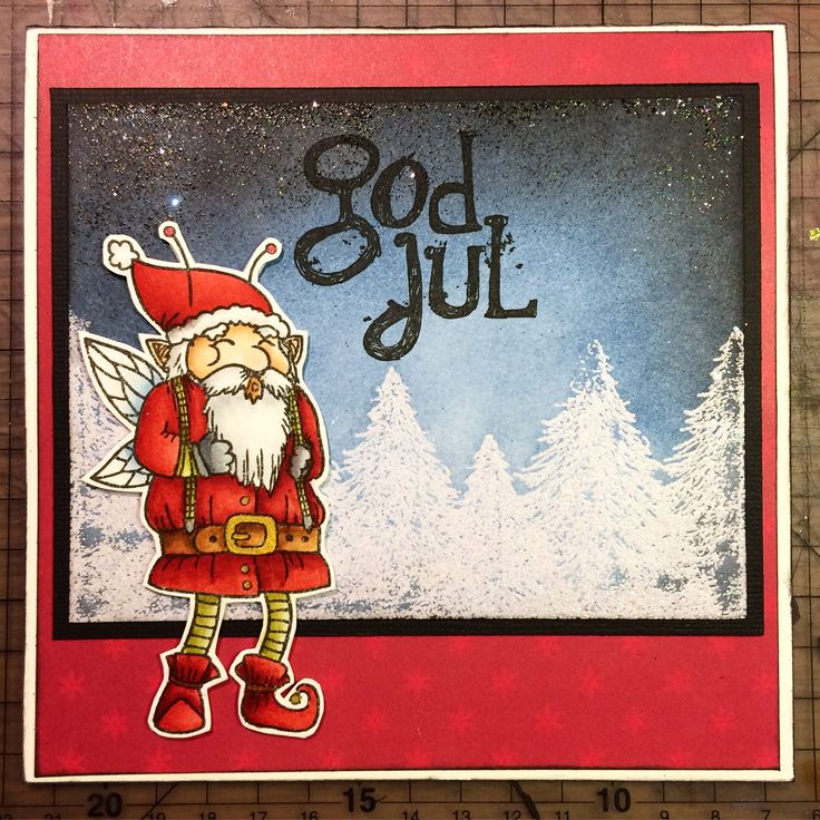 Christmas card that I made for a friend. The Santa is coloured with Distress Ink and the background is made with heat embossing and Distress Ink. Santa and text stamps made by Tingtura Design.
